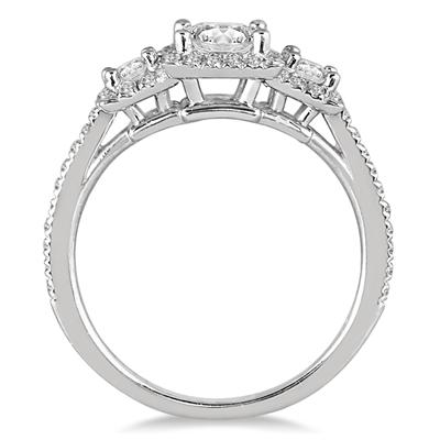 1 1/3 Carat Diamond Three Stone Halo Ring in 14K White Gold