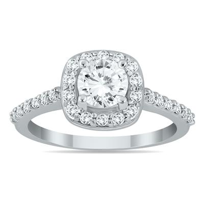 1 1/10 Carat Diamond Halo Engagement Ring in 14K White Gold