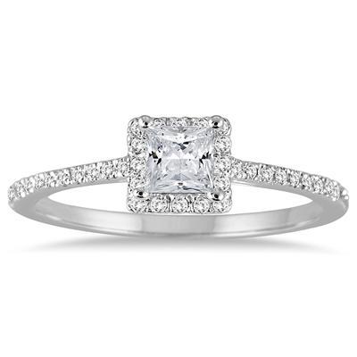 1/2  Carat Princess Cut Diamond Engagement Ring in 14K White Gold