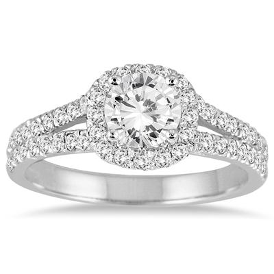 1 1/4 Carat White Diamond Engagement Ring in 14K White Gold