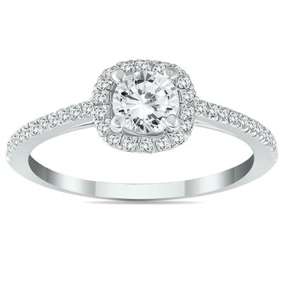 3/4 Carat Diamond Halo Engagement Ring in 14K White Gold