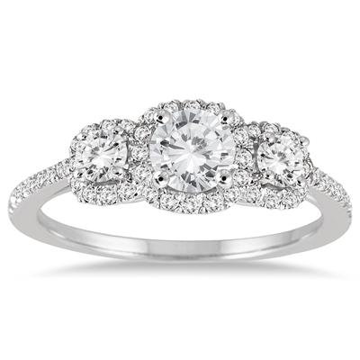 1.00 Carat Diamond Three Stone Ring in 14K White Gold