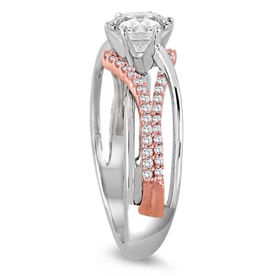 1 1/2 Carat Diamond Engagement Ring in 14K Rose and White Gold
