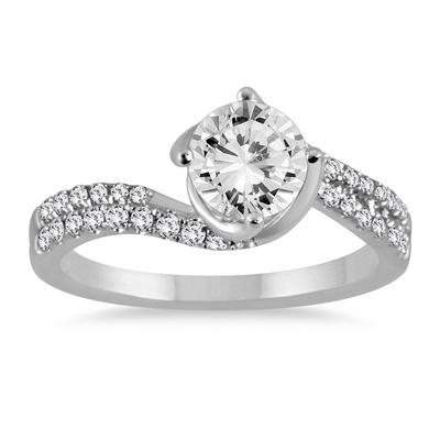 1 1/4 Carat Diamond Engagement Ring in 14K White Gold