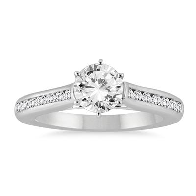 1 1/3 Carat TW Diamond Channel Engagement Ring in 14K White Gold