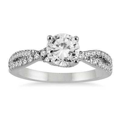 1 1/5 Carat Diamond Engagement Ring in 14K White Gold