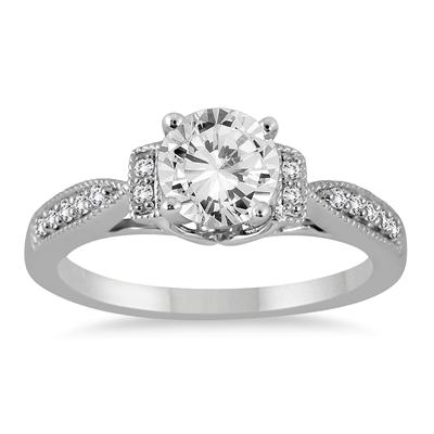 1 1/10 Carat Diamond Engagement Ring in 14K White Gold