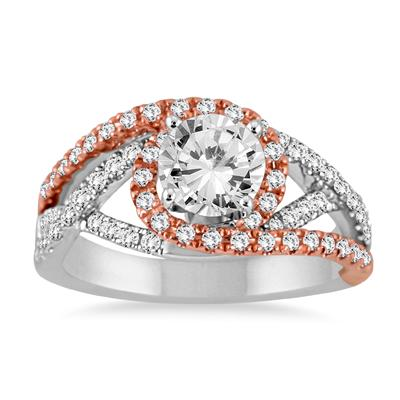 1.40 CTW Diamond Engagement Ring in Two Tone 14K White Gold