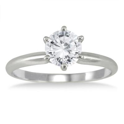 IGI Certified 1 Carat Diamond Solitaire Ring in 14K White Gold