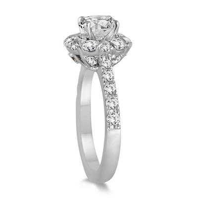1 7/8 Carat Diamond Halo Engagement Ring in 14K White Gold