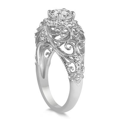IGI Certified 1 1/5 Carat Diamond Antique Engraved Engagement Ring in 14K White Gold (J-K Color, I2-I3 Clarity)
