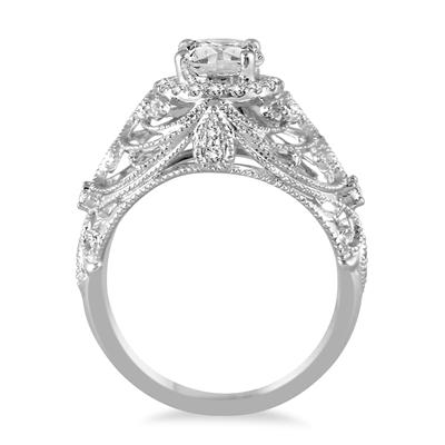 1 1/5 Carat Diamond Antique Engraved Engagement Ring in 14K White Gold