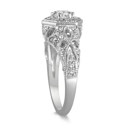 7/8 Carat Diamond Engagement Ring in 14K White Gold