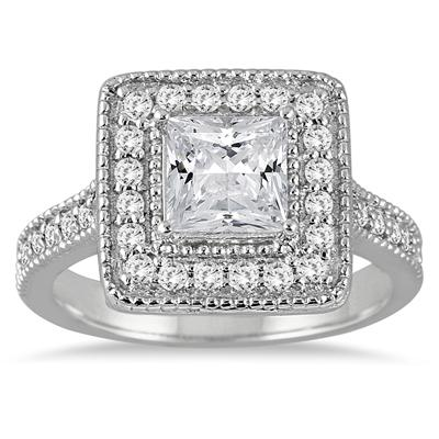 1.40 Carat Princess Antique Diamond Halo Engagement Ring in 14K White Gold