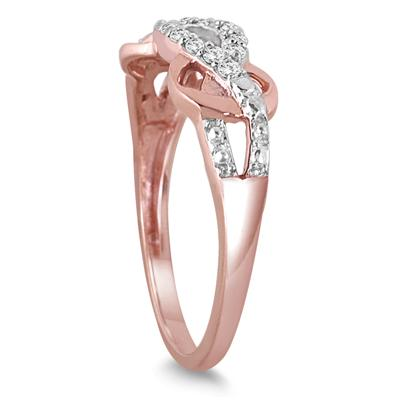 1/6 Carat Diamond Antique Ring in Rose Gold Plated .925 Sterling Silver