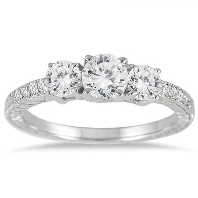 1 1/10 Carat TW Diamond Three Stone Ring in 14K White Gold