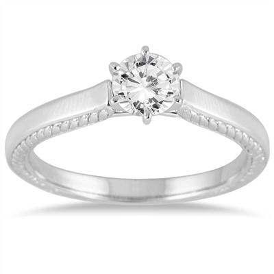 1 Carat Diamond Cathedral Ring in 14K White Gold