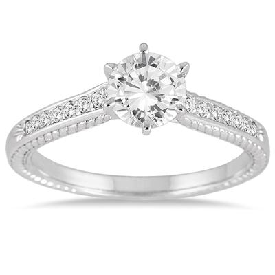 1.00 Carat Diamond Antique Ring in 10K White Gold