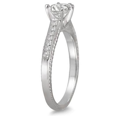 1 Carat TW Diamond Antique Ring in 10K White Gold
