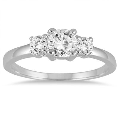 3/4 Carat Diamond Three Stone Engagement Ring in 14K White Gold