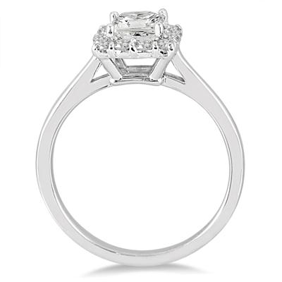3/4 Carat Princess Cut Diamond Halo Engagement Ring in 14K White Gold