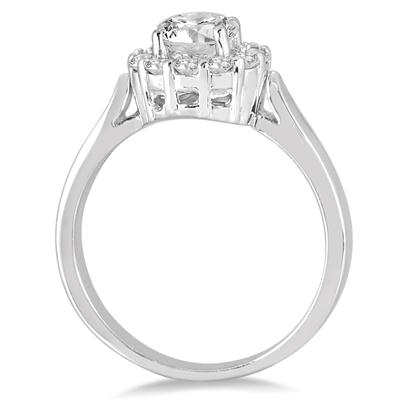 AGS Certified 1 Carat TW Diamond Engagement Ring in 14K White Gold J-K Color, I2-I3 Clarity)