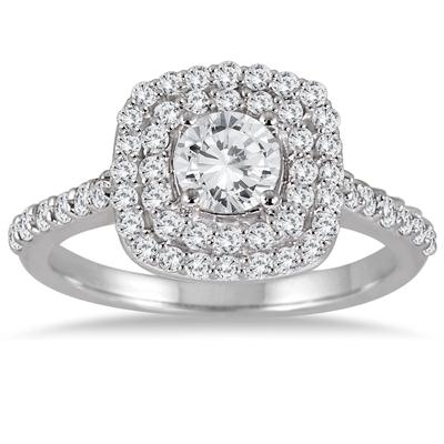 1 1/3 Carat Diamond Double Halo Engagement Ring in 14K White Gold