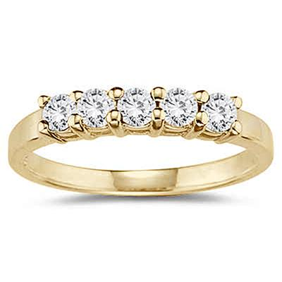 1/2 Carat 5 Stone White Diamond Ring in 10K Yellow Gold