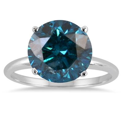 3 1/2 Carat Round Blue Diamond Solitaire Ring in 14k White Gold