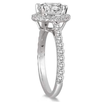 1 1/8 Carat Halo Diamond Engagement Ring in 14K White Gold