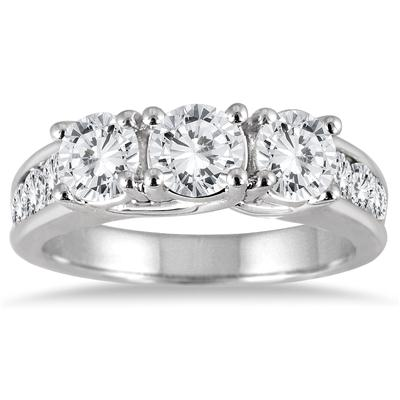 2.00 Carat Diamond Three Stone Ring in 14K White Gold