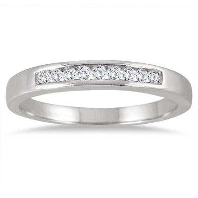 1/10 Carat Channel Set Diamond Band in .925 Sterling Silver