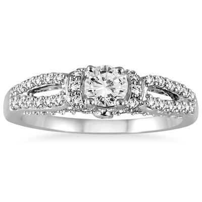 1 Carat Antique Split Shank Diamond Ring in 10K White Gold