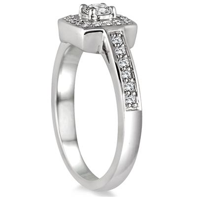 1/2 Carat Diamond Halo Ring in 10K White Gold