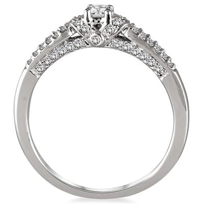 1/2 Carat Split Shank Diamond Ring in 10K White Gold