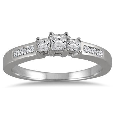 1/2 Carat Princess Cut Diamond Three Stone Ring in 10K White Gold