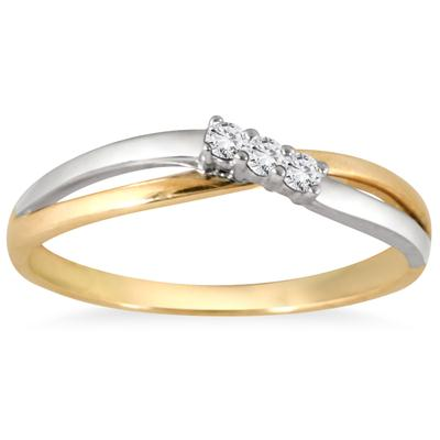 Three Stone Diamond Two Tone Ring in 10K White Gold