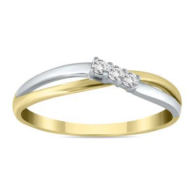 Three Stone Diamond Two Tone Ring in 10K White Gold