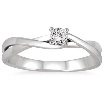 1/8 Carat Diamond Twist Solitaire Ring in 10K White Gold