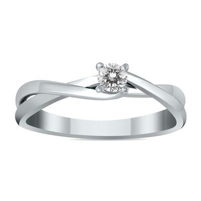 1/8 Carat Diamond Twist Solitaire Ring in 10K White Gold