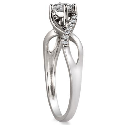 1/3 Carat Princess Cut Diamond Engagement Ring in 10K White Gold