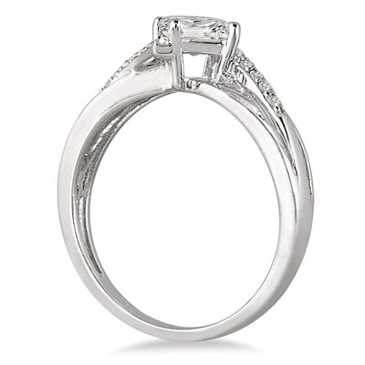1/2 Carat Princess Cut Diamond Engagement Ring in 10K White Gold