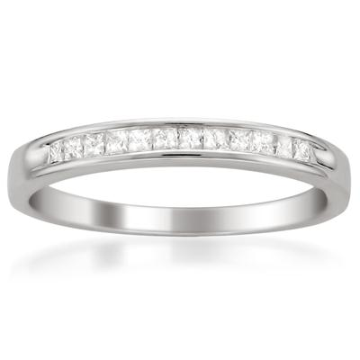 1/4 Carat Princess Channel Set Diamond Band in 14K White Gold