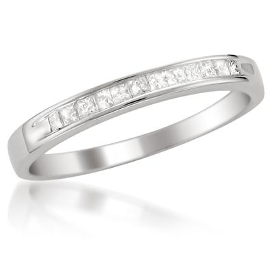 1/4 Carat Princess Channel Set Diamond Band in 14K White Gold