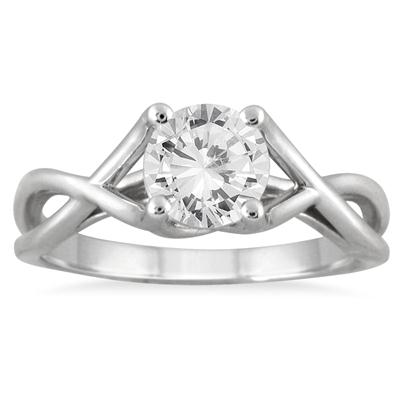 1 Carat Diamond Solitaire Twist Engagement Ring in 14K White Gold