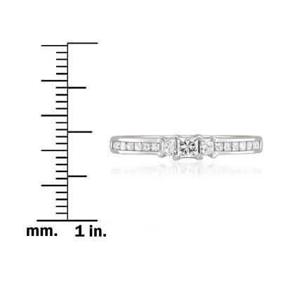 1/2 Carat Princess Cut Diamond Three Stone Ring in 14K White Gold