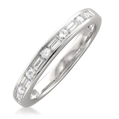 1/2 Carat Baguette and Round Band in 14K White Gold