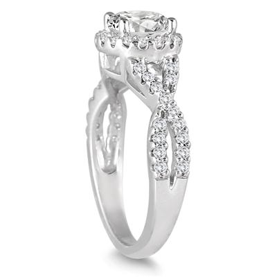 1 1/2 Carat Twisted Split Shank Halo Engagement Ring in 14K White Gold