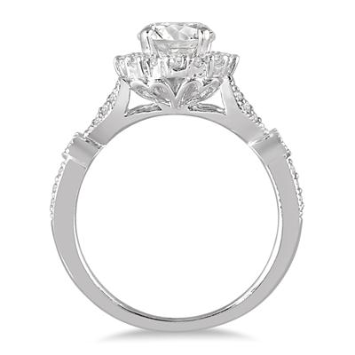 1 1/3 Carat Antique Diamond Halo Engagement Ring in 14K White Gold
