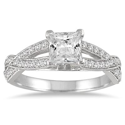1 1/3 Carat Princess Cut Diamond Ring in 14K White Gold